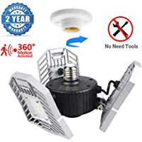 LED Garage Lights, Upgrade 80W Motion Activated LED Garage Lights, Best LED Garage Ceiling Light, 8000LM Indoor Garage LED Lighting,3 Adjustable Panels,Shop Light for Garage