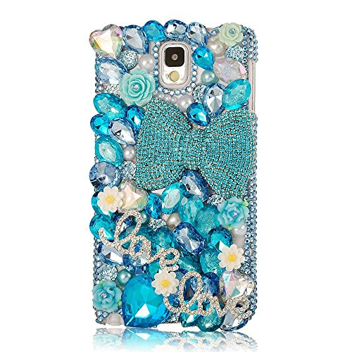 Note 4 Case,Galaxy Note 4 Case – EVTECH 3D Handmade Bling Crystal Full Diamond Pendant Colorful Flowers and Shiny Rhinestone Clear Cover Hard Case for…