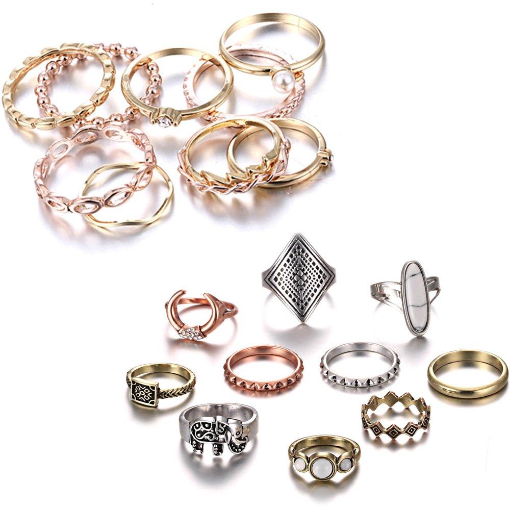 Gmai Bohemian Vintage Women Crystal Joint Knuckle Nail Ring Set of 10 pcs Finger Rings Punk Ring Gift (Gold+Boho)