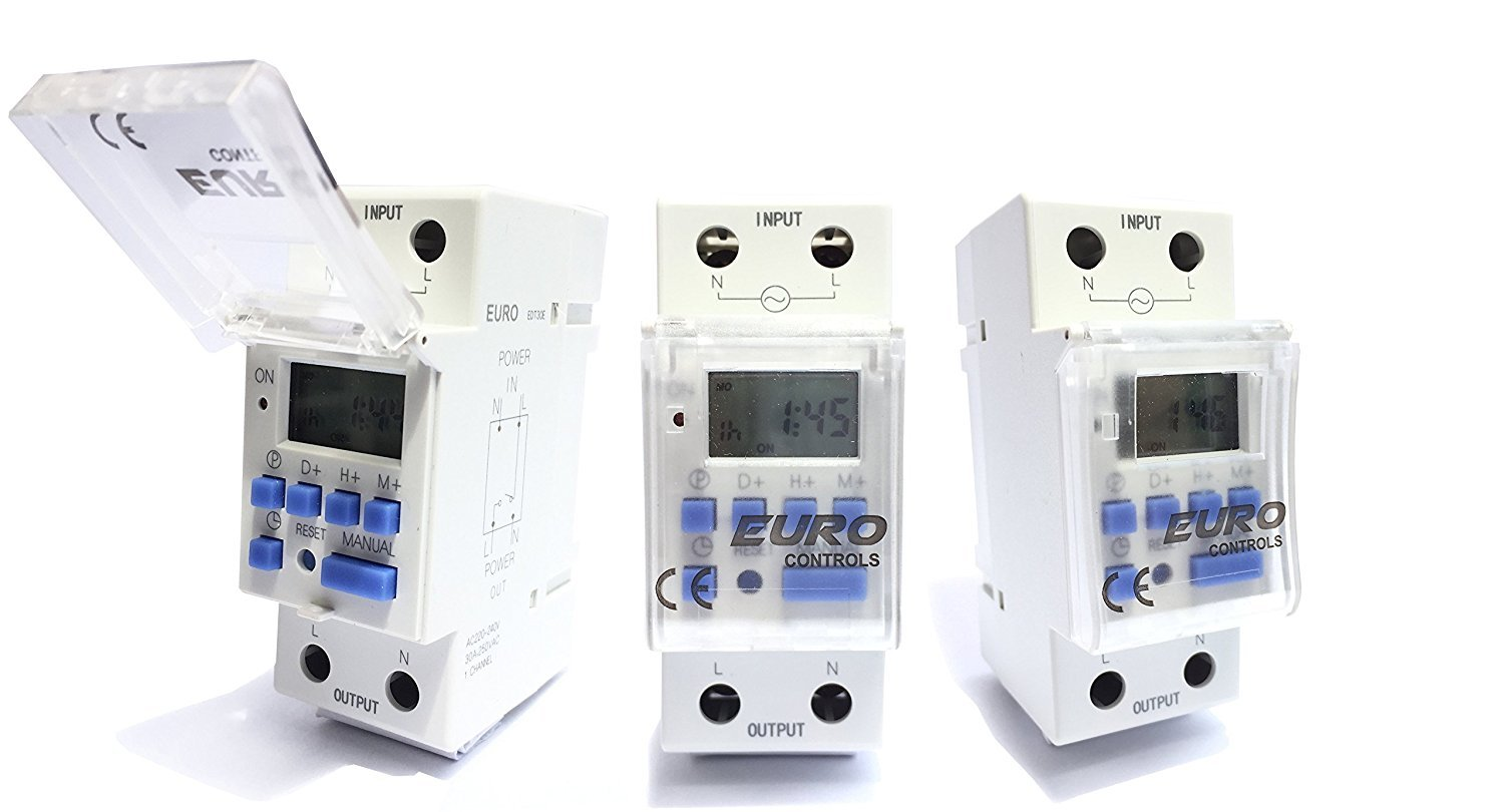 Euro Din Type Digital Timer Controller Made In Germany Programmable Australian 610 Phone Socket Wiring Diagram For Daily Weekly Rail Mounting Home Improvement