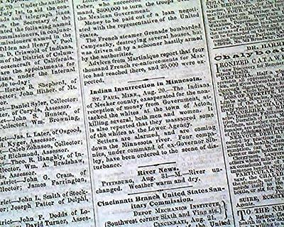 Rare 1862 CINCINNATI OHIO Civil War Newspaper Rebels in Tennessee & Kentucky
