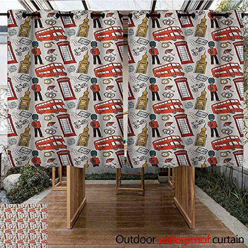 (AndyTours Outdoor Window Curtains,London,Doodle English Icons Crown London Cab Telephone Booth Watch Big Ben Umbrella Bicycle,for Porch&Beach&Patio,K140C100 Multicolor)
