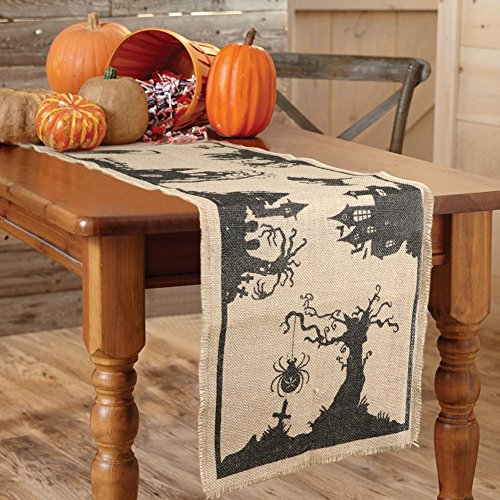 AerWo 14 x 74 Inch Halloween Burlap Table Runner, Black Spider Tassel Tablecloth for Halloween Party, Dinner Parties and Home Decorations (Halloween Tablecloths)