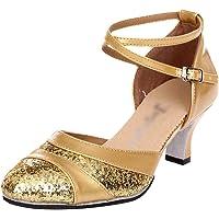 Lihaer Fashion Elegant Women's Sequin Dance Shoes Summer Breathable Sandals Professional Girls Latin Dance Shoes