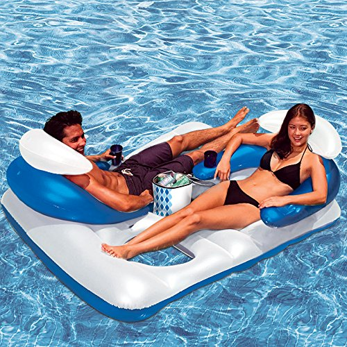 """64.5"""" Blue and White Inflatable Arctic Chill Face-to-Face Swimming Pool Lounger with Ice Bag"""