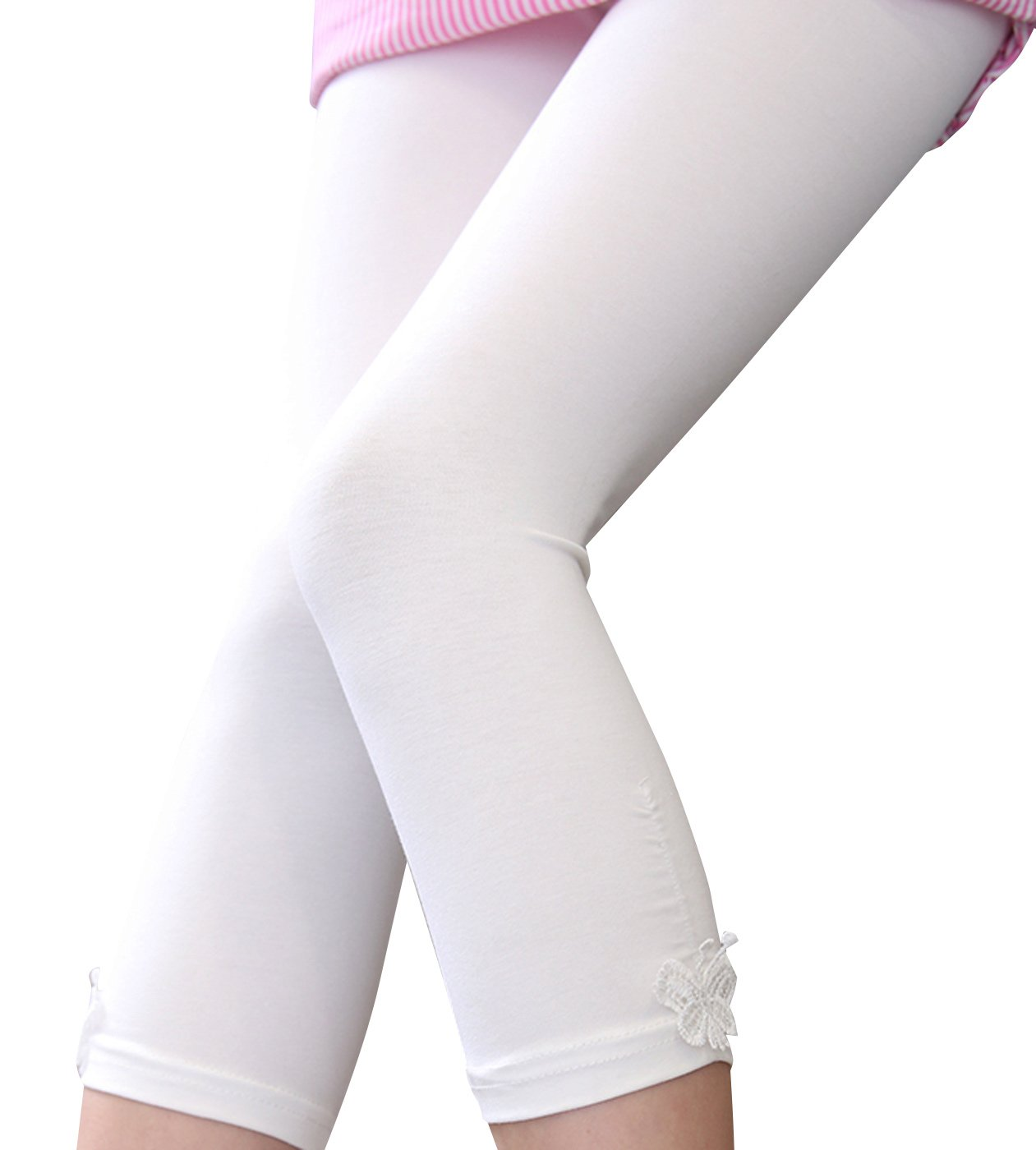 Happy Cherry Girl Kid Cotton Breathable Capri Legging Summer Thin Cropped Pant Tights,White,6-7T