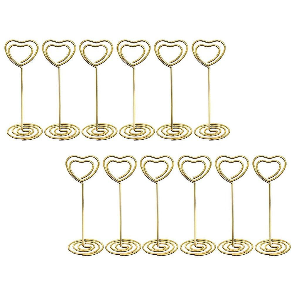 OUNONA 12 Stück Heart Shape Foto Halter Ständer Tisch Zahl Halter Platz Card Papier Menü Clips für Hochzeiten(Golden)
