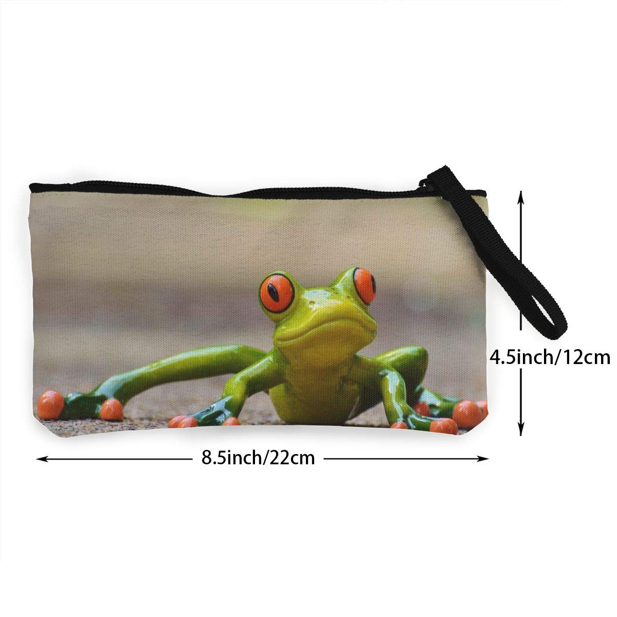 Figurine Of Frog Zipper Canvas Coin Purse Wallet Make Up Bag,Cellphone Bag With Handle