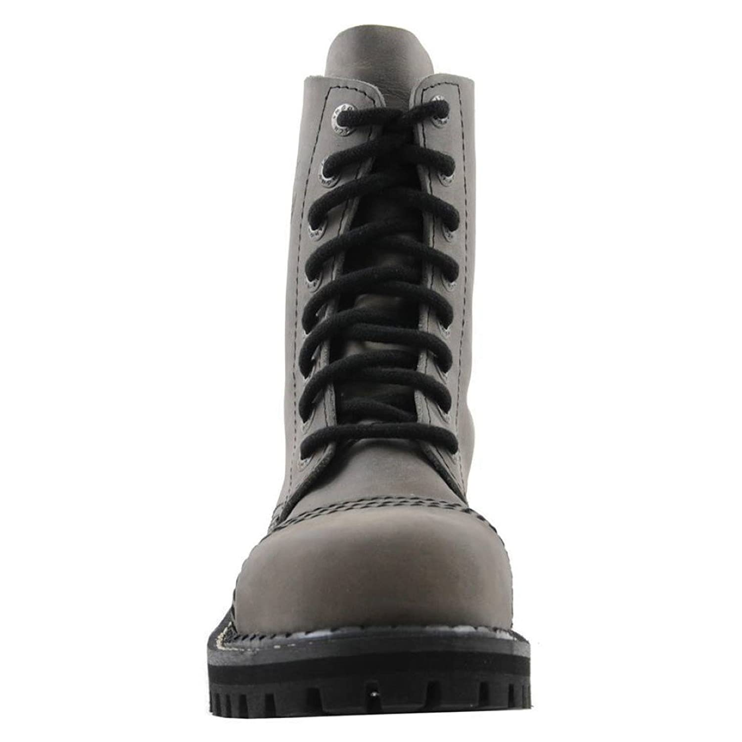 Angry Itch 8 Hole Gothic Punk Grey Leather Army Ranger Boot Steel Toe:  Amazon.co.uk: Shoes & Bags