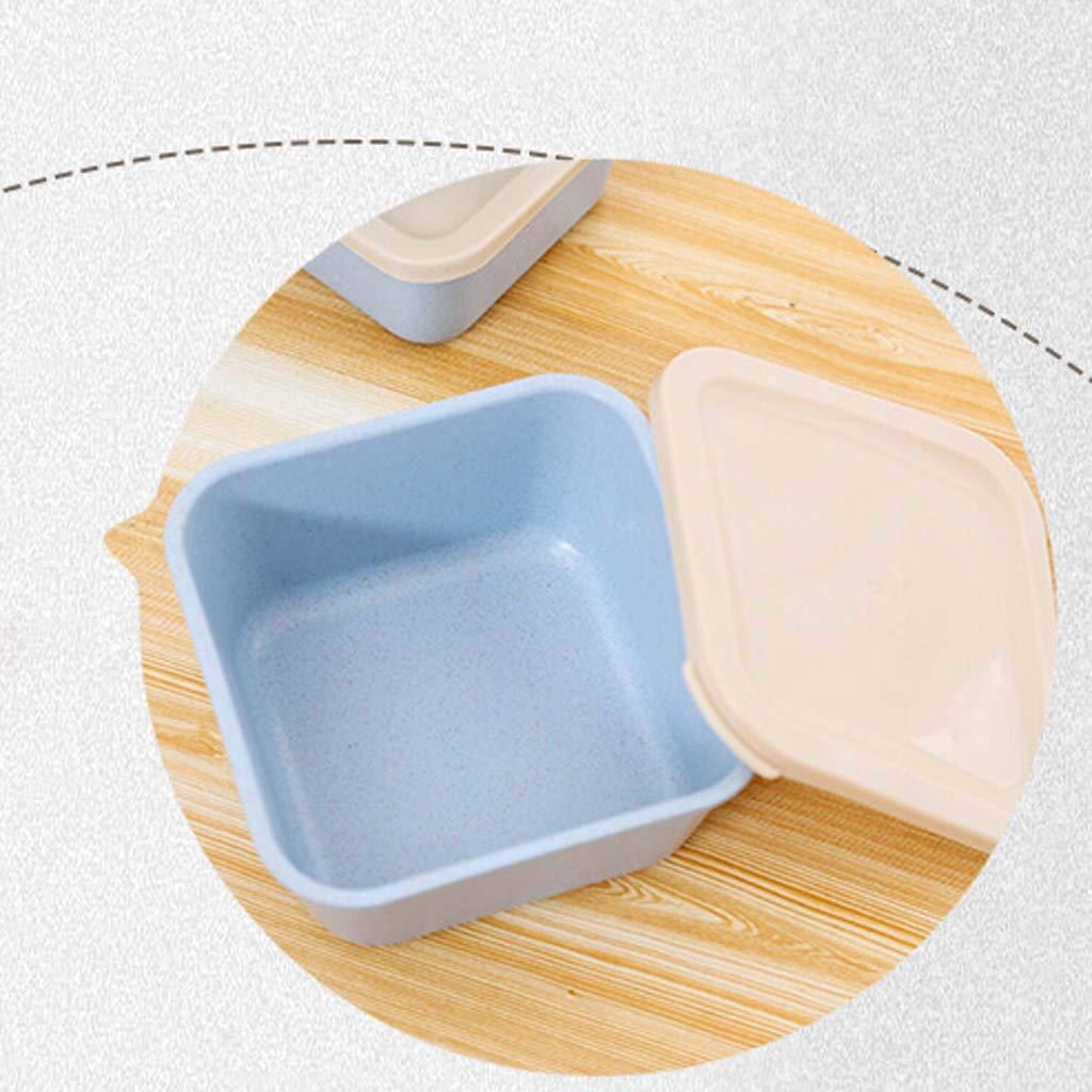 VNEIRW 3pcs Weizen Stroh Bento Boxen Microwaveable Lunch Container mit Deckel Blau / Aufbewahrungsbox Lunchbox Mittagessen Box Geschirr