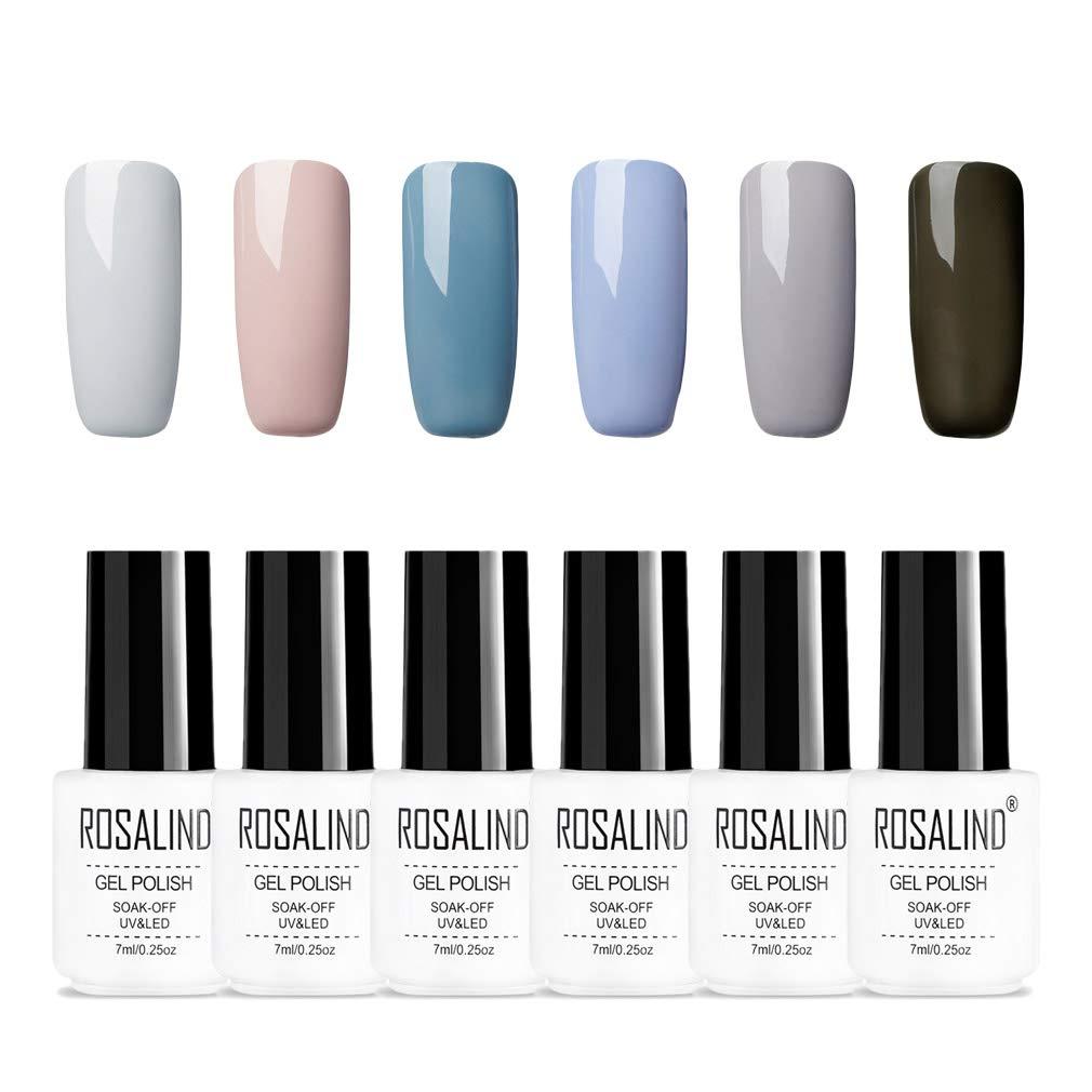 ROSALIND serie de color gris gel semipermanente esmalte de uñ as Soak Off UV LED diseñ o de dedo 6pcs 7ml