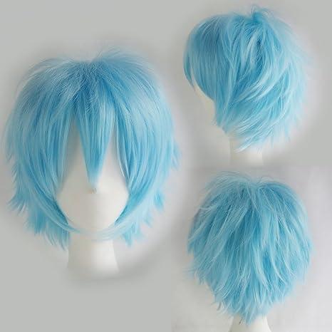 Peluca de Personajes de Anime o de Dibujos animados Corto Ondulado Azul claro Cosplay Disfraz Carnaval