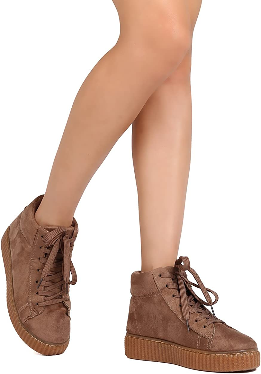 Qupid Women Faux Suede Lace Up High Top