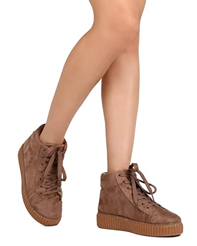 dd8dc71443d09 Qupid Women Faux Suede Lace Up High Top Flatform Sneaker FF61 - Taupe (Size: