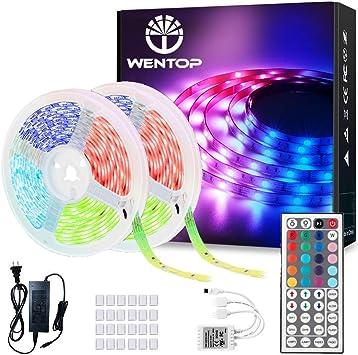 2 Rolls Of 16.4Ft Wentop Led Strip Lights 32.8Ft For Bedroom With Remote