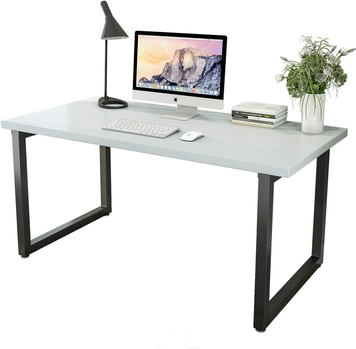 Patavinity Real Wood Computer Desk, 47in Rustic Wood and Metal Writing Desk, Sturdy PC Study Table for Home Office (47'' W x 23'' D x 29'', Pine Wood Desktop with Water-Proof PVC Cover, White)