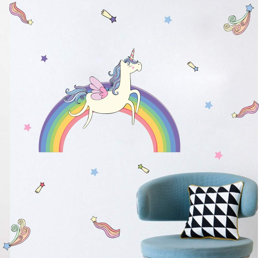 Rainbow Unicorn Wall Decal, Meteor Stars Sticker for Nursery Room, Colorful Girls Love Decal, Running Horses Unicorn… 4
