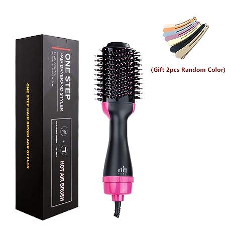 One Step Hair Dryer Volumizer, ZAHIUS Hair Dryer Brush Multi-functional Electric NegativeIon Hair Straightener Curly Hair Brush Gift 2Pcs Hair Clips