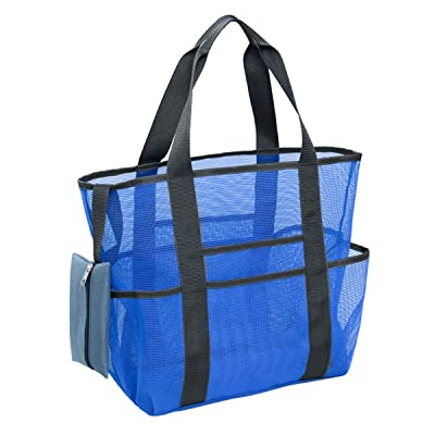 Yinuoday Mesh Beach Bag Tote, Large Swim Net Beach Bags for Women, Sand Pool Toys Organizer Storage Bag & Shell Bag with Pockets for Adults Kids Toddlers: Toys & Games