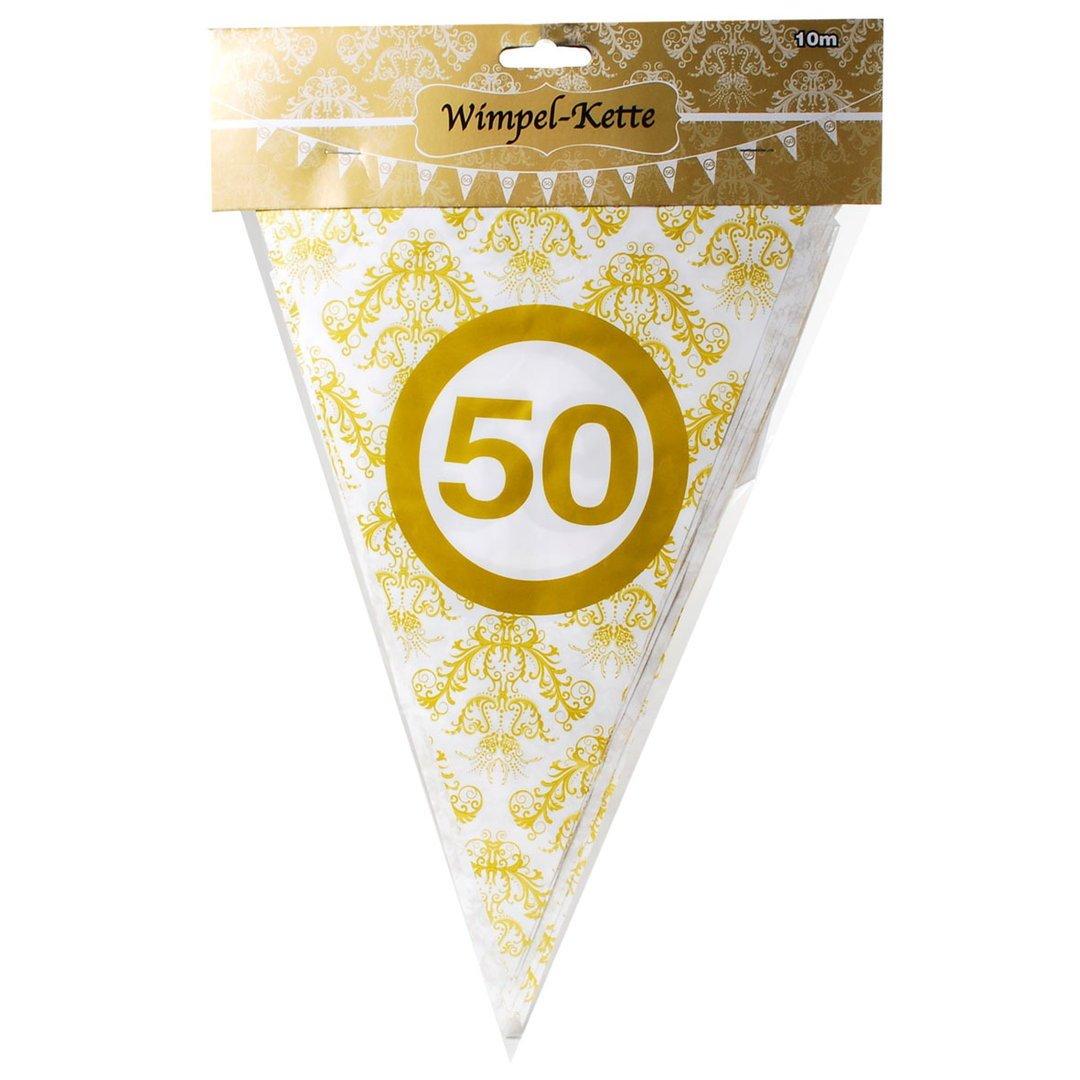 1 Wimpelkette Girlande Zahl 50 Geburtstag 10 m Goldene Hochzeit Girlanden Deko