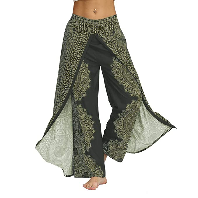 ZEZKT pantalones anchos mujer pantalones de yoga bohemios ...