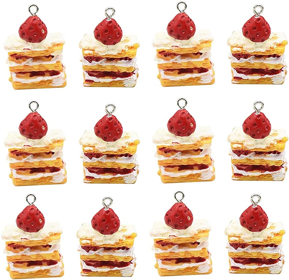 ccHuDE 12 Pcs Cute Strawberry Cake Pendant Charms Food Charms for Jewery Making Earring Bracelet Necklace DIY