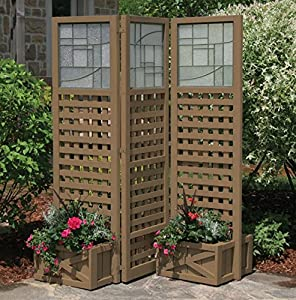 Yardistry faux glass privacy screen with for Outdoor privacy screen planter