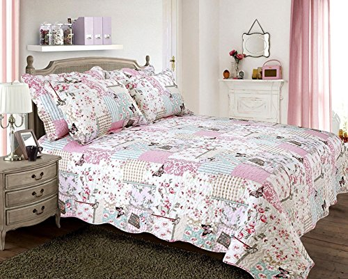 "PATCHWORK BUTTERFLY STAMP FLORAL QUEEN SIZE BED (UK KING SIZE BED) BEDSPREAD 100"" X 104"" - 250CM X (Butterfly Patchwork)"