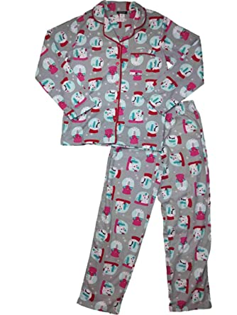 1b658392e9c3c Image Unavailable. Image not available for. Color  Womens Christmas Snowman  Snowglobe Flannel Pajamas Pom Pom Trimmed Sleep Set