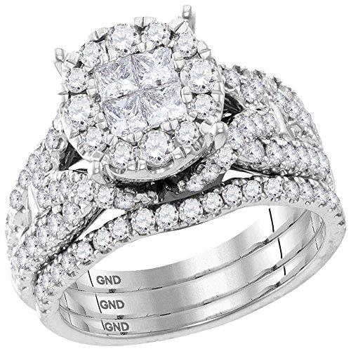 Roy Rose Jewelry 10K White Gold Womens Princess Round Diamond Soleil Bridal Wedding Engagement Ring Band Set 2 Carat tw ~ Size 7 (2 Ct Diamond Wedding Rings)