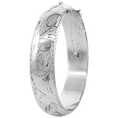 dbdfd56d738 Amazon.com: Sterling Silver Bangle Bracelet Floral Engraving Safety ...