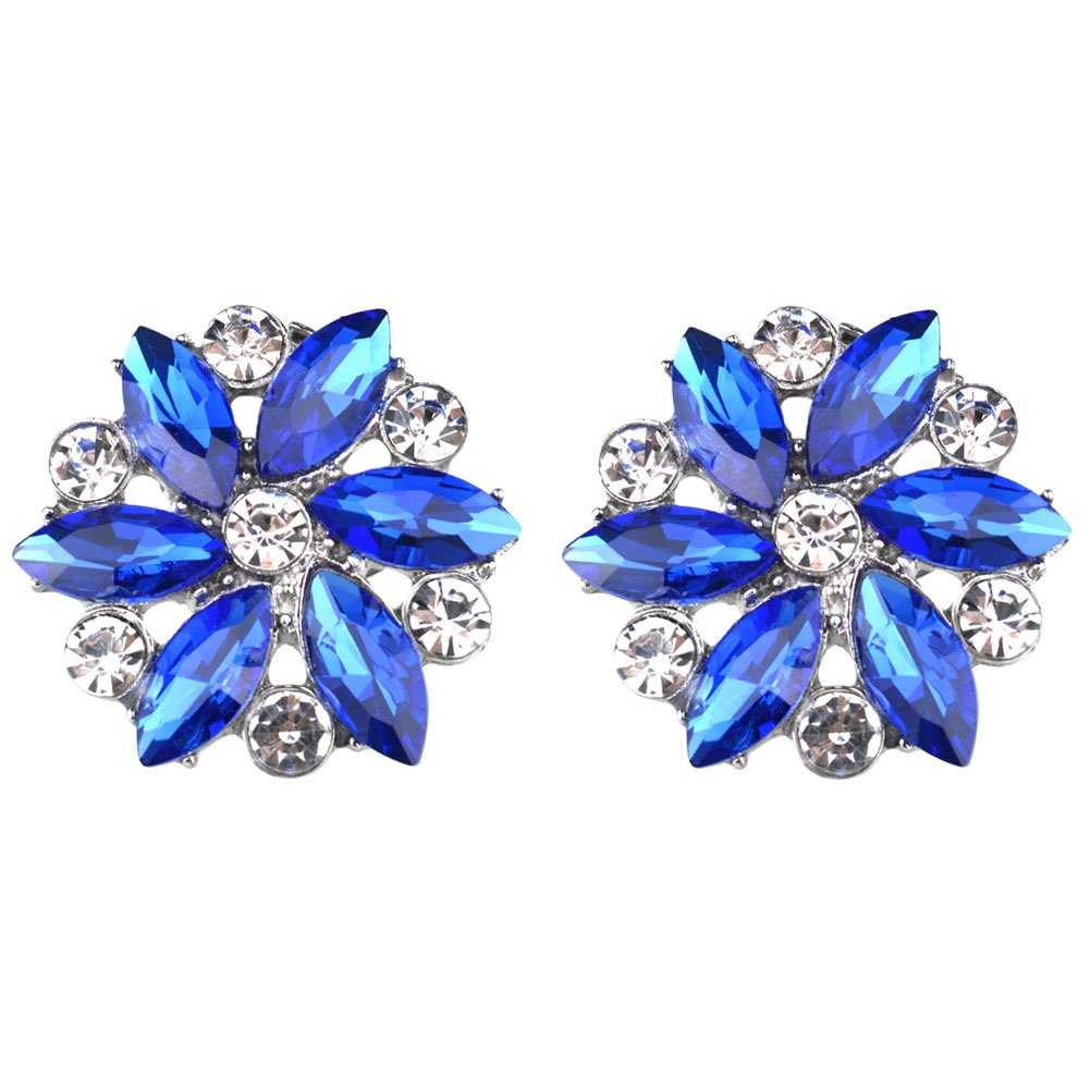 Rantanto Crystal Metal Shoes Clips Accessory Shoes Decoration Charms Pack (SDA0021 Royal Blue)