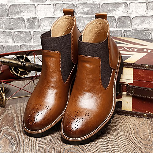 RAINSTAR Mens Casual Chelsea Ankle Boots Slip On Loafer Bootie Autumn Winter Light Brown Dqg3X1QDx