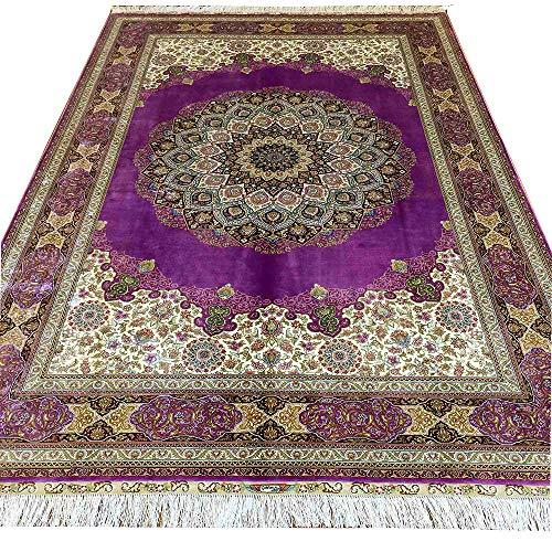 Yuchen Rug 6×9 Purple Silk Rug Handmade Persian Tabriz Rug for Living Room