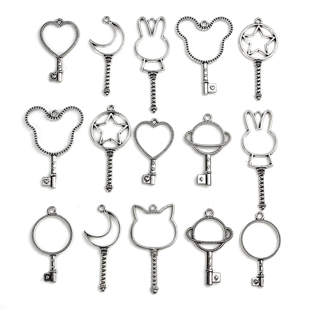 Wholesale 20PCS Antique Sliver Mixed Big Hollow Glue Blank Pendant Charms DIY for Jewelry Making and Crafting Lanyue