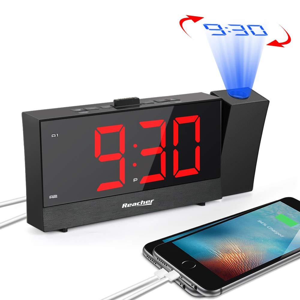 Reacher Sveglia con Proiettore, Orologio Sveglia Digitale da Comodino con Gamma completa dimmer di luminosità, Snooze, Caricabatterie doppio telefono, Doppio Allarme, Grande LED Display, Nero