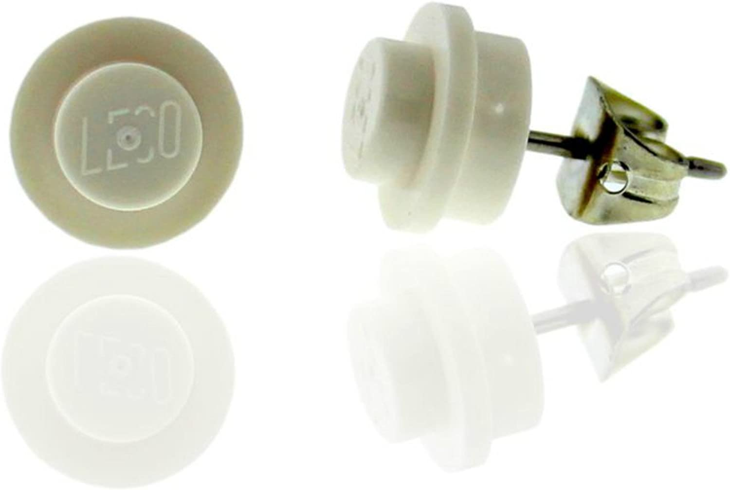 FUNKY Square LEGO 1x1 White Stud Earings