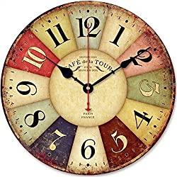 SkyNature Round Colorful Wooden Wall Clock Country Style Silent Non-Ticking Quartz Movement for Living Room (12 inch Paris)