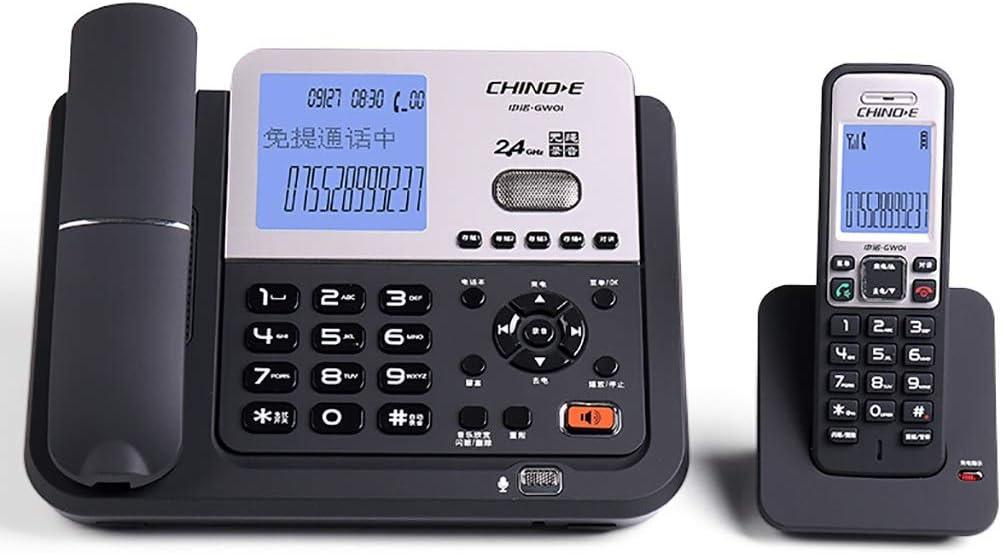 FXJ Teléfono inalámbrico en la casa/Oficina Teléfono Fijo teléfono Fijo ID de Llamada Mensaje de grabación R Transferencia de tecla Silencio 20.2 * 24 * 10cm (2 Colores) (Color : Black)