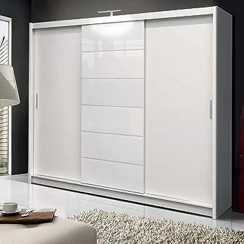 DAKO FURNITURE MALIBU - Armario de puerta corredera, 250 cm de ancho, color blanco: Amazon.es: Hogar