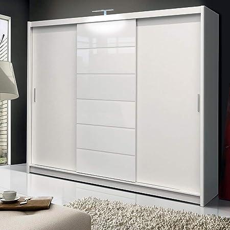 Armadio Ante Scorrevoli 250.Dako Furniture Guardaroba Malibu Bianco Con Ante Scorrevoli 250 Cm Di Larghezza Amazon It Casa E Cucina