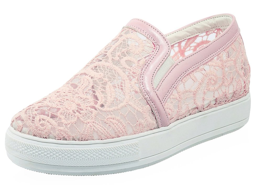 SHOWHOW Women's Comfort Round Toe Slip On Sneakers with Mesh Pink 9 B(M) US