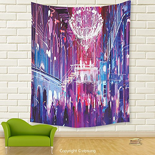 Vipsung House Decor Tapestry_Fantasy Art House Decor Opera Opening Elite People Night Club Bright Lights Big Crowd Artwork Inches Blue_Wall Hanging For Bedroom Living Room Dorm