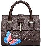 Pijushi Designer Handbag Butterfly Women's Genuine Leather Top Handle Cross Body Bag 8003 (8003 Brown)