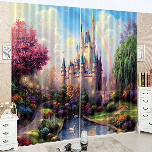 LB Teen Kids Decor Collection,2 Panels Room Darkening Blackout Curtains,Rainbow on the Castle Wonderland 3D Window Treatment Curtains Living Room Bedroom Window Drapes,52 x 84 Inches