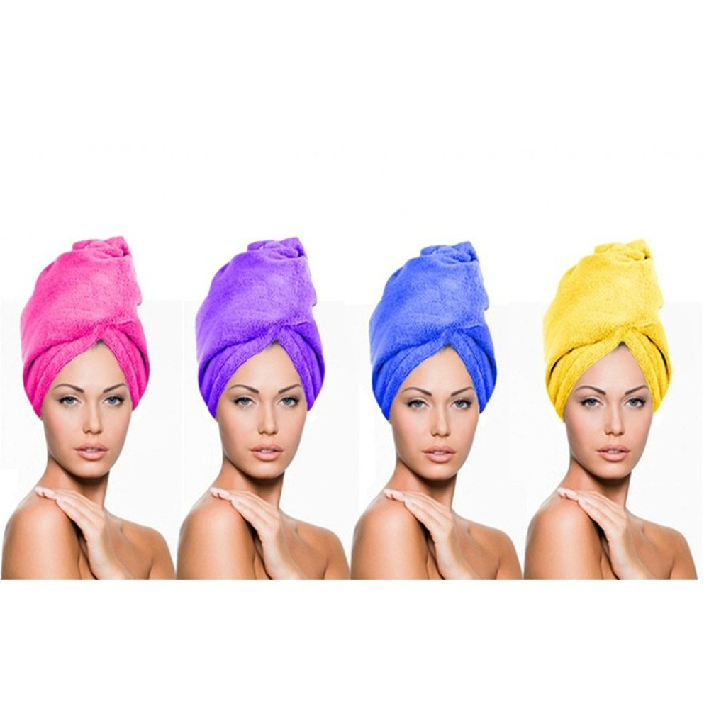 Z-COMFORT Ultra Absorbent Microfiber Hair Twist Towel Wrap Turban Cap (4 Pack), Assorted, 4 Count