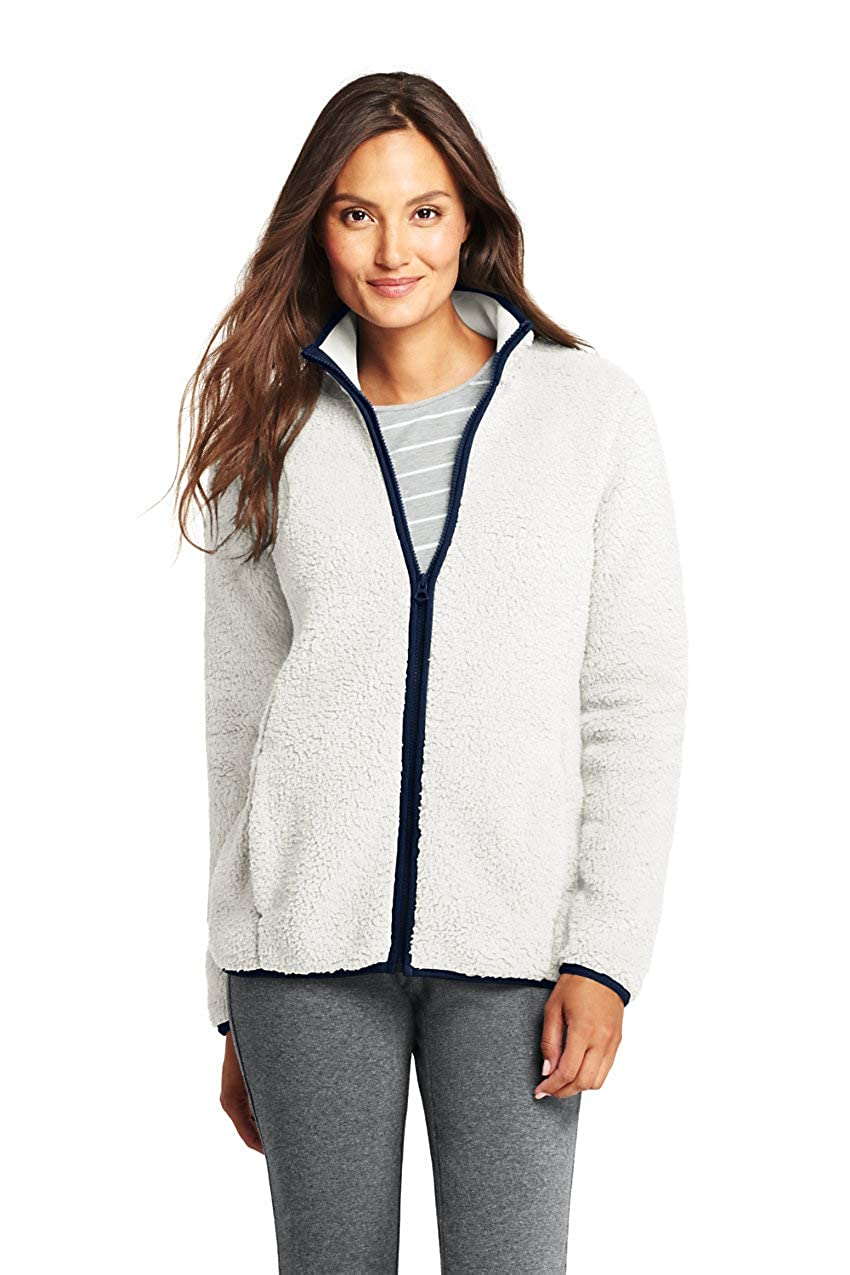Light Oyster Lands' End Women's Cozy Sherpa Fleece Jacket