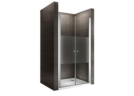 i-flair 180 cm Hohe Duschtür aus 6mm Sicherheitsglas Teilsatiniert mit Nanobeschichtung - Alle Größen (88-92cm)
