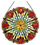 Chloe Lighting Hawkers Tiffany-Glass Dragonfly Window Panel 24''