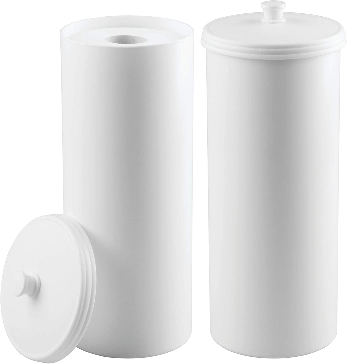 Mdesign Free Standing Toilet Paper Holder Canister With Lid For Bathroom Storage Pack Of 2 White Amazon Co Uk Kitchen Home